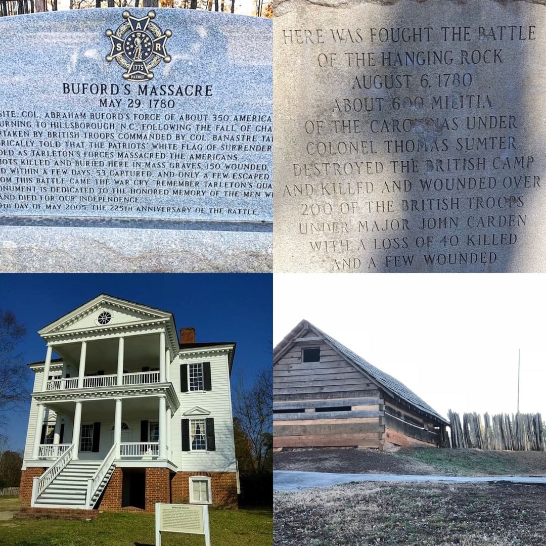 South Carolina involved many Revolutionary War Battles were Americans gave the ultimate sacrifice for our freedom. Here are a few from L-R, Top: Buford's Massacre, Battle of Hanging Rock. Bottom: Camden Battlefield, Ninety-Six Battlefield