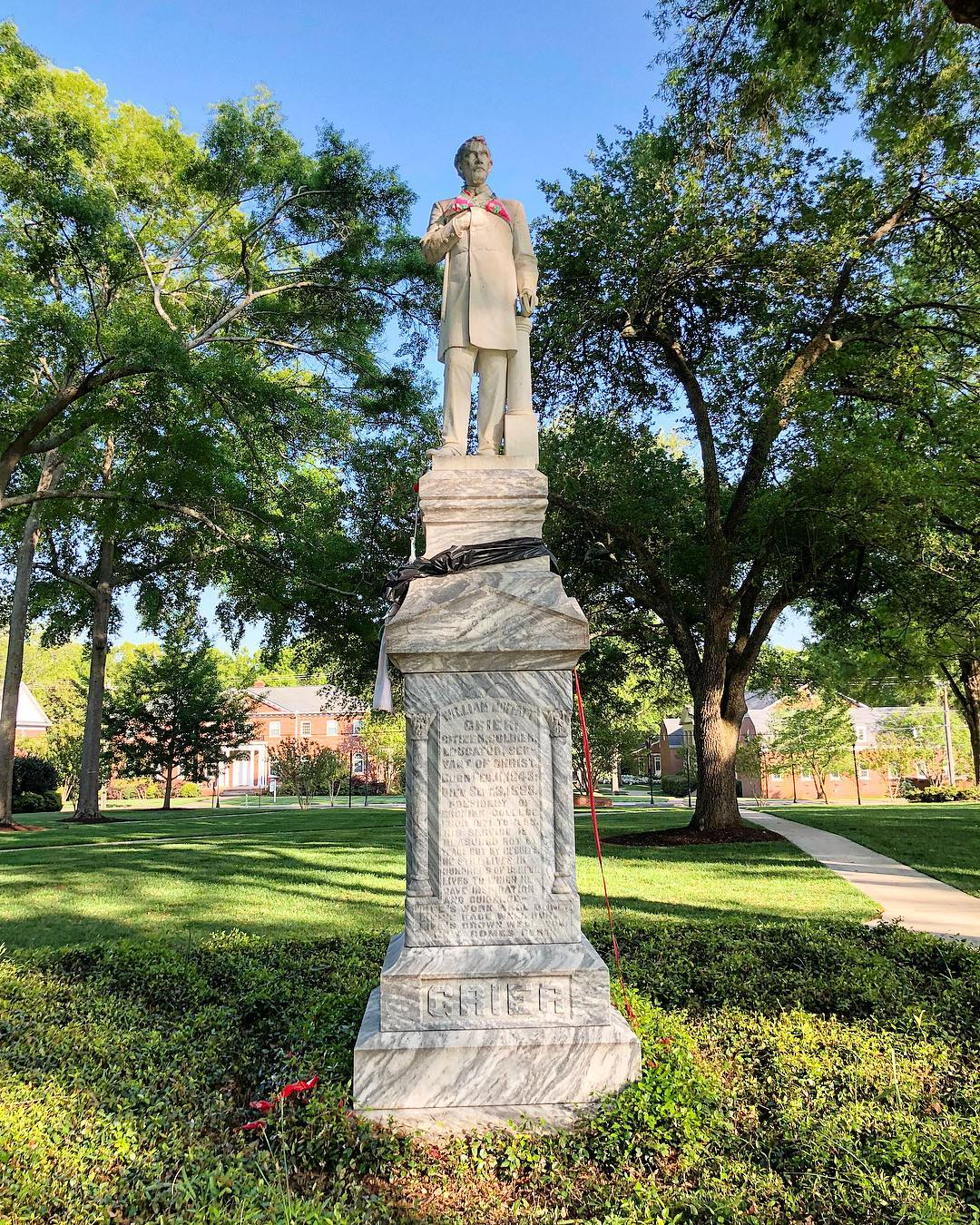 Monument to William Moffatt Grier (1843-1899), president of Erskine College from 1871-1899. The monument was erected in 1904