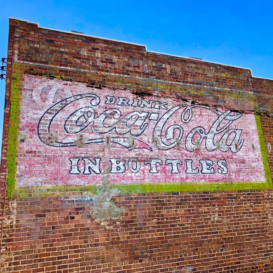 Painted Coca-Cola advertisement on a brick building in Blacksburg, SC
