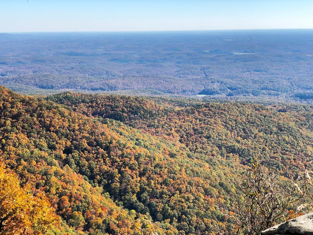 The colors of Fall in the Mountain Bridge Wilderness Area as viewed from Caesars Head State Park. Taken on Saturday (11/2/2018