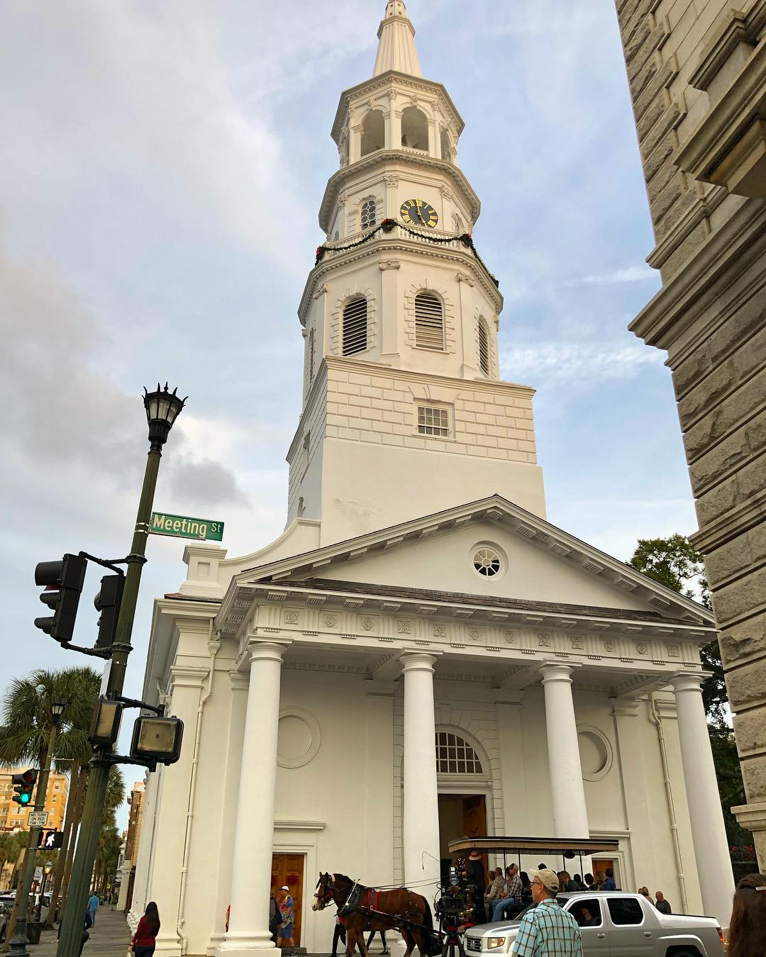 St. Michael's Church was built between 1751-1761 at the corner of Broad and Meeting streets on the site of the original wooden church built in 1681 by St. Philip's Church (It had been damaged in a hurricane in 1710 and a new St. Philip's Church was built several blocks away on Church Street