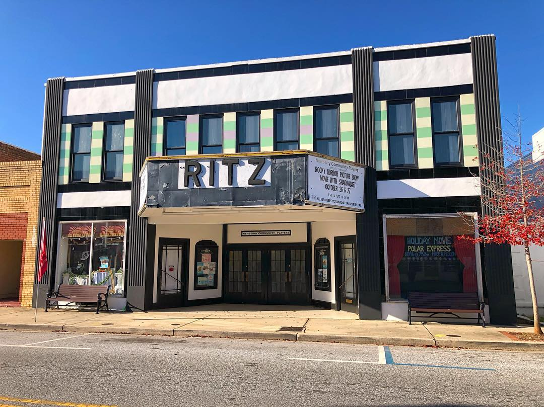 The Ritz Theater opened on October 16, 1936 as a movie theater. It is now a live performance theater and since 1974 it is home to the Newberry Community Players