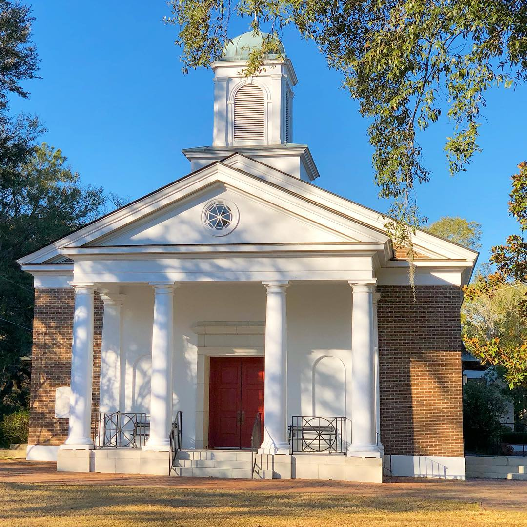 Originally founded in Jacksonboro in 1728. This summer location of the Bethel Presbyterian Church in Walterboro had a structure here in 1821. That one was replaced in 1860 and was destroyed by a tornado in 1879. It was replaced by another frame church in 1880, which burned in 1966. The present brick sanctuary, the fourth on this site, was built in 1969
