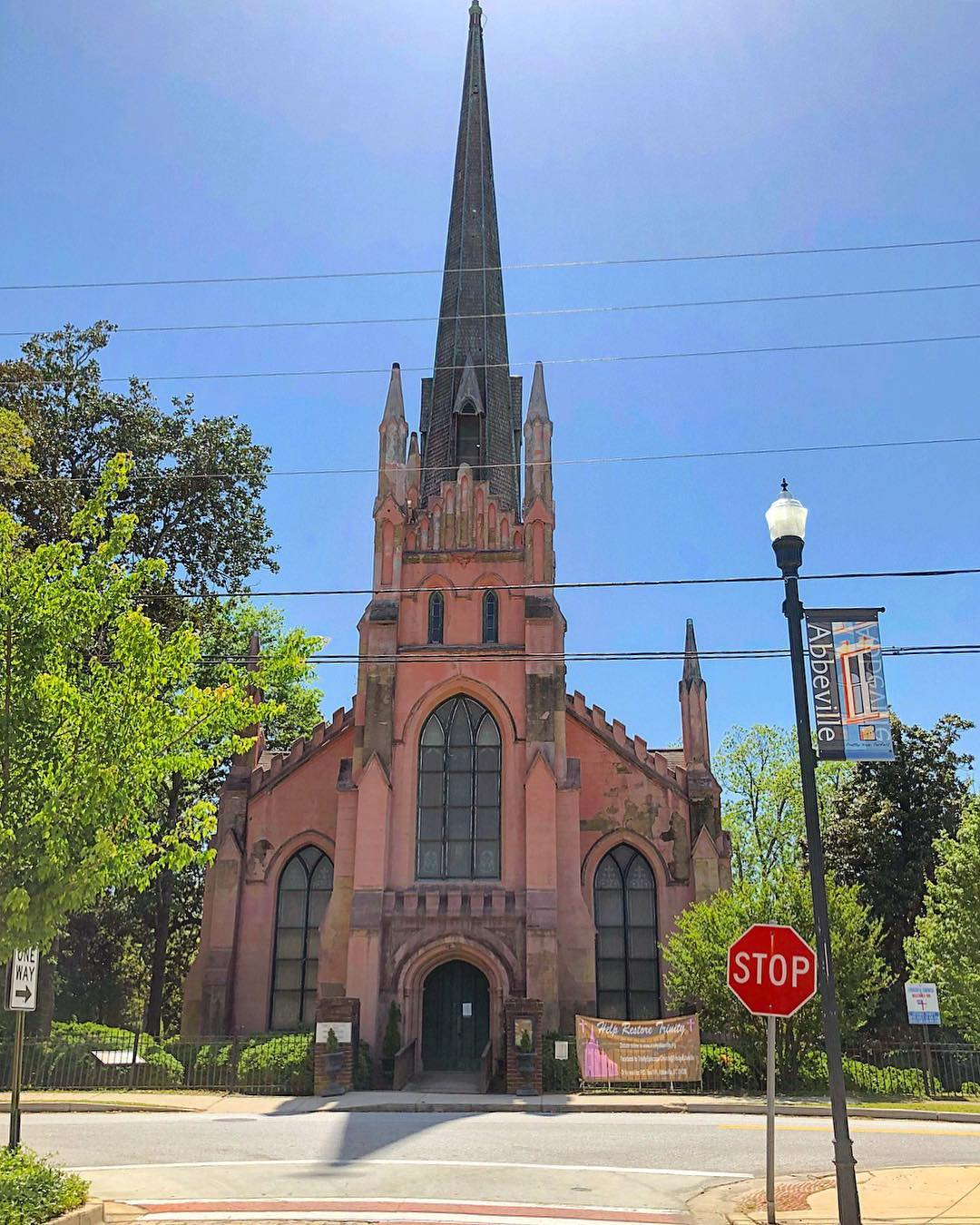 Trinity Episcopal Church in Abbeville was founded in 1842. Columbia architect George Walker designed the building in the French Gothic style. Construction completed in 1860. Preservation South Carolina is currently working to restore this church