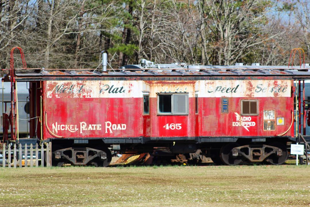 Nickel Plate Road (NKP) caboose #465 was built by International Car. It is on display at the SC Railroad Museum