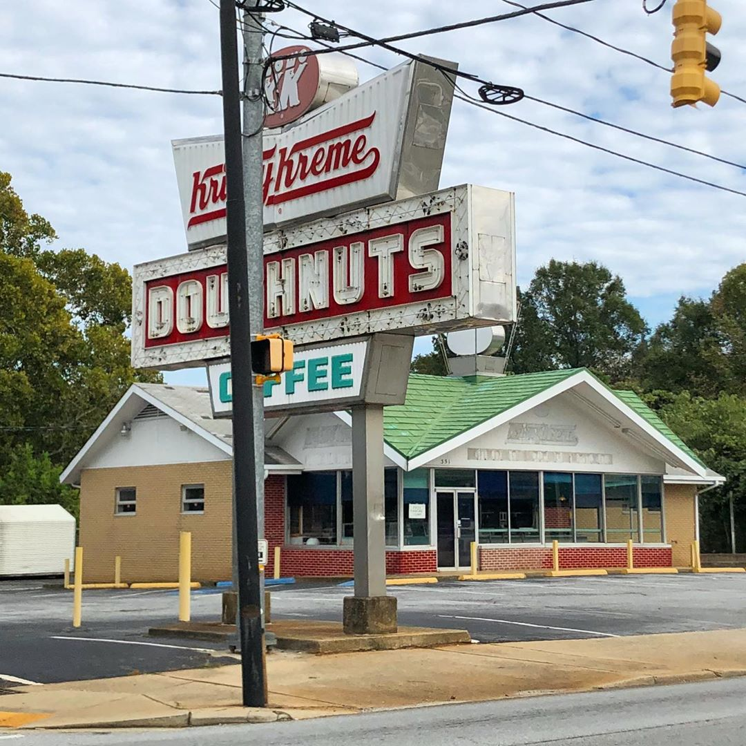 The North Church Street location opened in October 1969. This location featured a coffee bar, one of only 11 left in the nation's Krispy Kremes with one at the time. This location closed in 2005 when it relocated to a building across the street