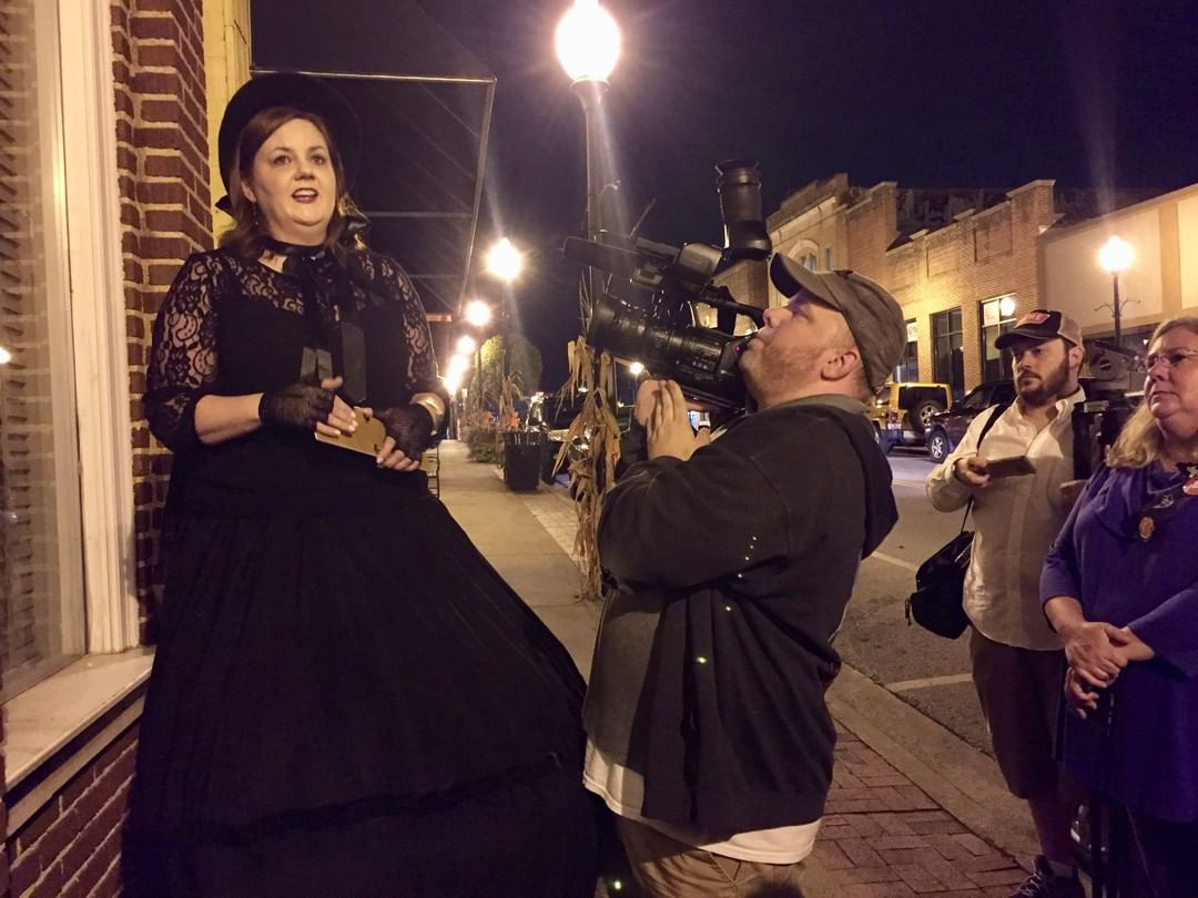 """PBS Charlotte filming the Fort Mill Lanterns and Legends tour for an episode of """"Trail of History."""" This episode is titled """"Fort Mill and the Anne Springs Close Greenway"""" and first aired 12/19/2017"""