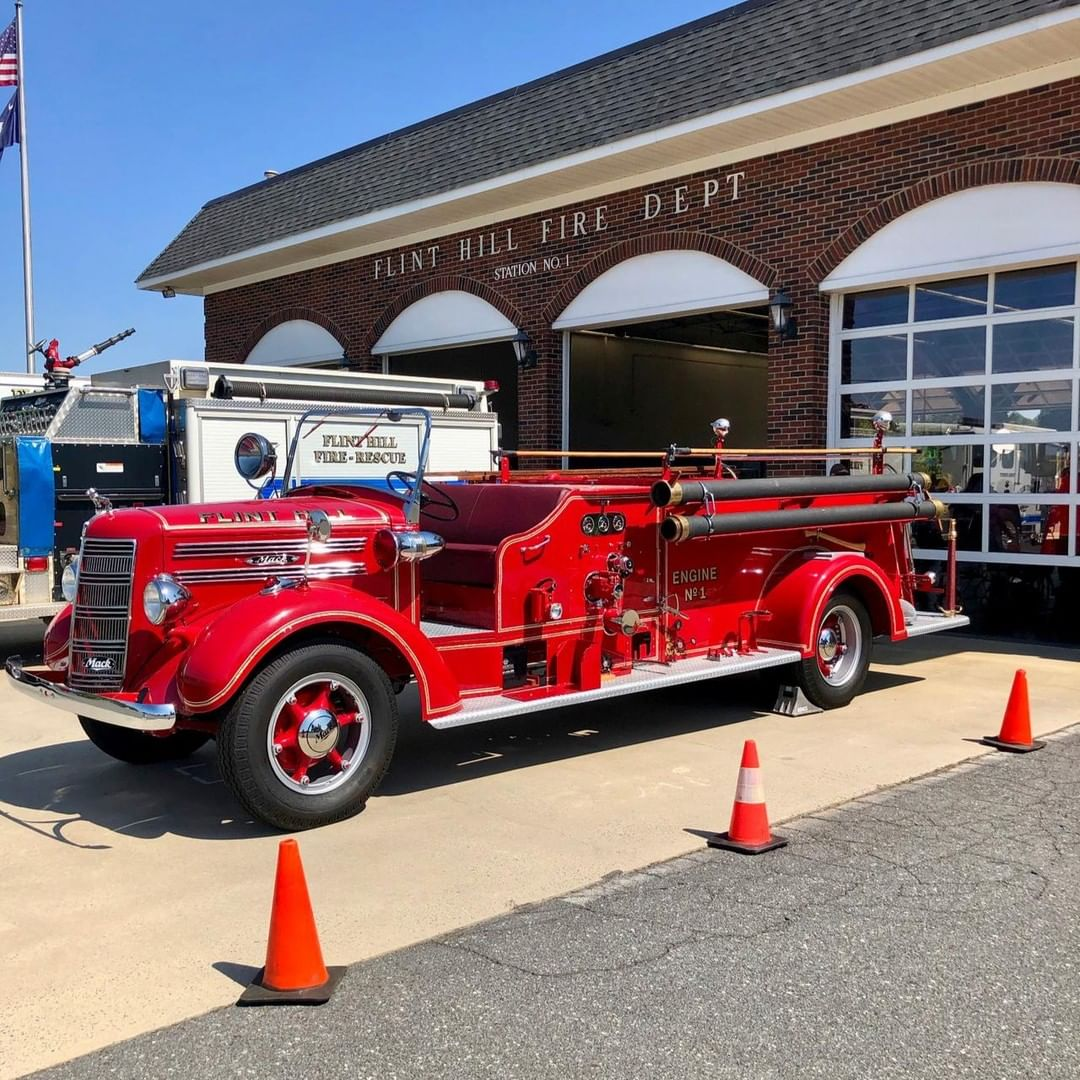 This is a restored 1942 Mack Model 45 Open Cab Fire Engine. This fire truck was used by Flint Hill Fire Department in Fort Mill township and by other local agencies during its life. It is now again part of the Flint Hill Fire Department as a show truck