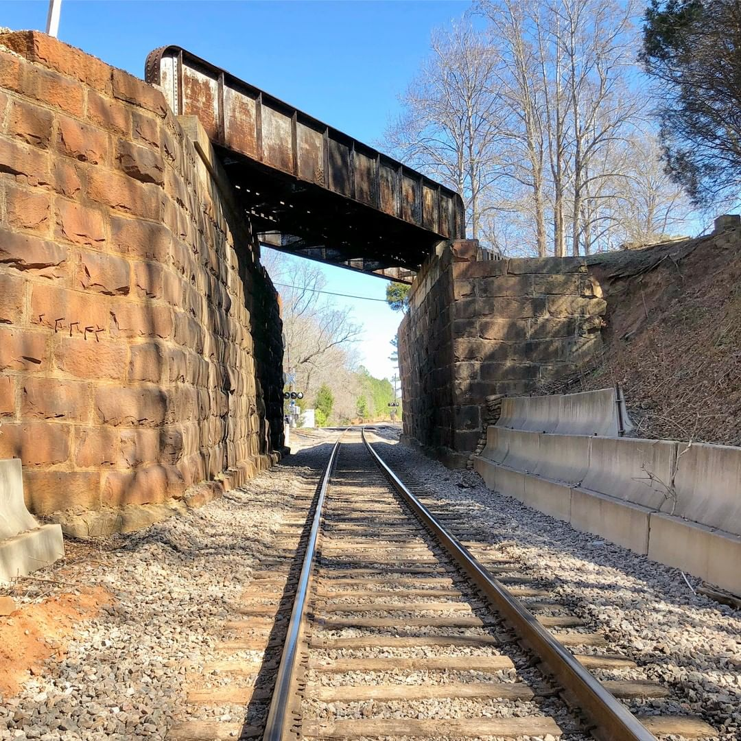 This railroad over railroad bridge is located in the small town of Catawba South Carolina. Bottom is CSX, above Norfolk Southern