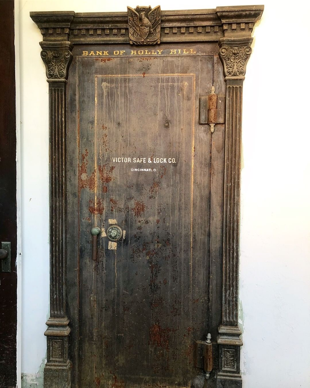 The Bank of Holly Hill vault dates between 1905 and 1915. The bank re-chartered as the First National Bank of Holly Hill. The bank lives on as the First National Bank of South Carolina. This vault is a Victor Safe and Lock Co