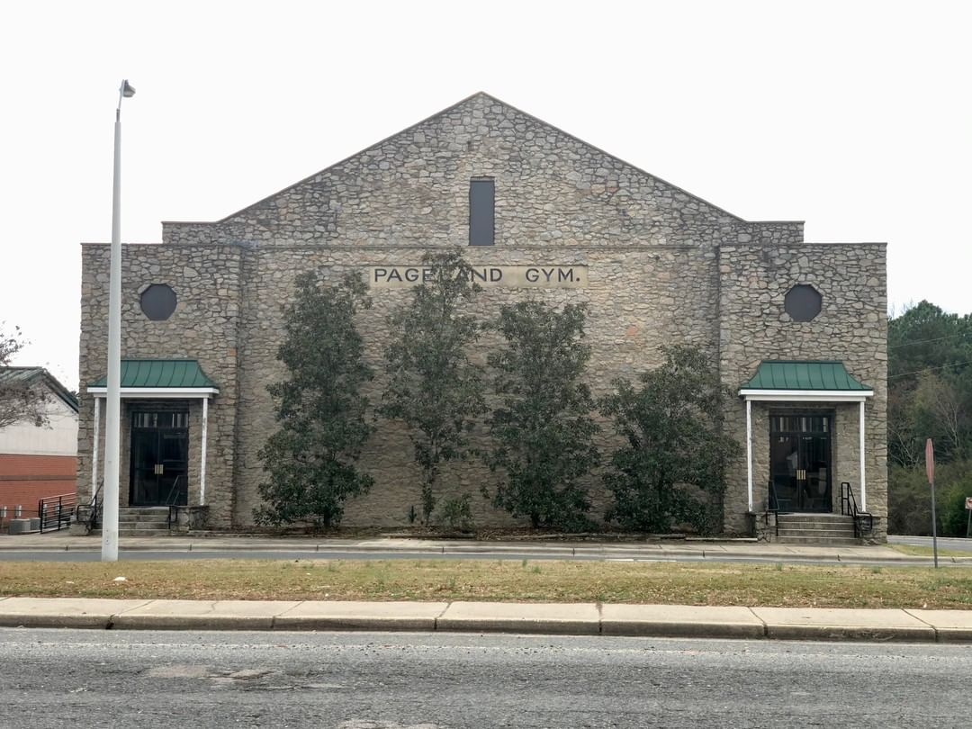 The Pageland Gymnasium was a Works Progress Administration project. The gymnasium was built using local stones