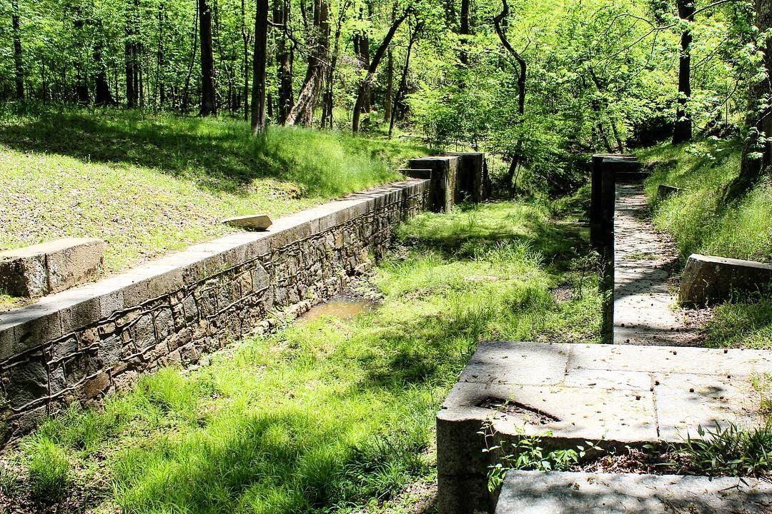 The canal ruins at Landsford Canal State Park. Built to bypass rapids on the Catawba River using slave labor between 1820 and 1825, it was abandoned with the coming of the railroad