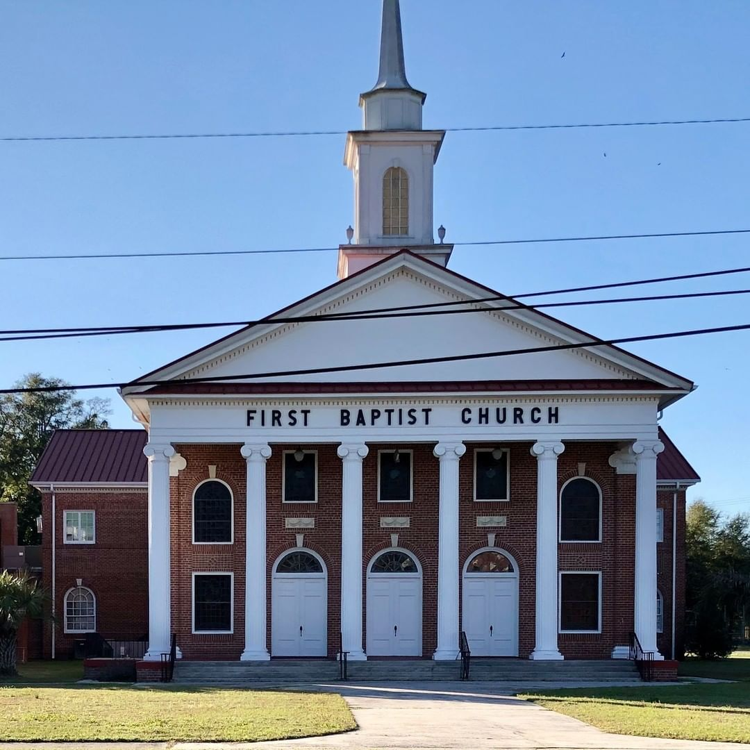 The First Baptist Church of Blackville was organized in 1846 under the guidance of their first pastor Reverend Darling Peeples. The first wooden church was used as a dance hall by federal troops during the Civil War. This third sanctuary was dedicated in 1921