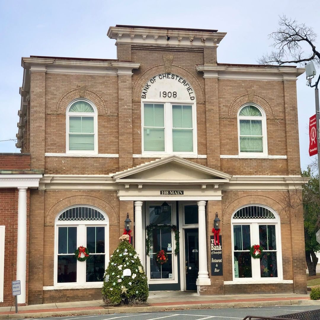 The Bank of Chesterfield Building was built in 1908. The Bank of Chesterfield was chartered in 1903 by W. I. Blakely, T. M. Mangum, W. R. Craig, and E. N. Redfearn. The Bank of Chesterfield would merge with First Citizens Bank