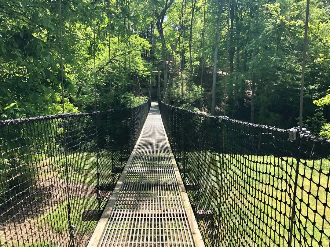 The Carolina Thread Trail crosses from near Lancaster SC to Waxhaw NC via this suspension walking bridge. The bridge connects Twelve Mile Creek Trail with the Walnut Creek Park Segment of the Carolina Thread Trail