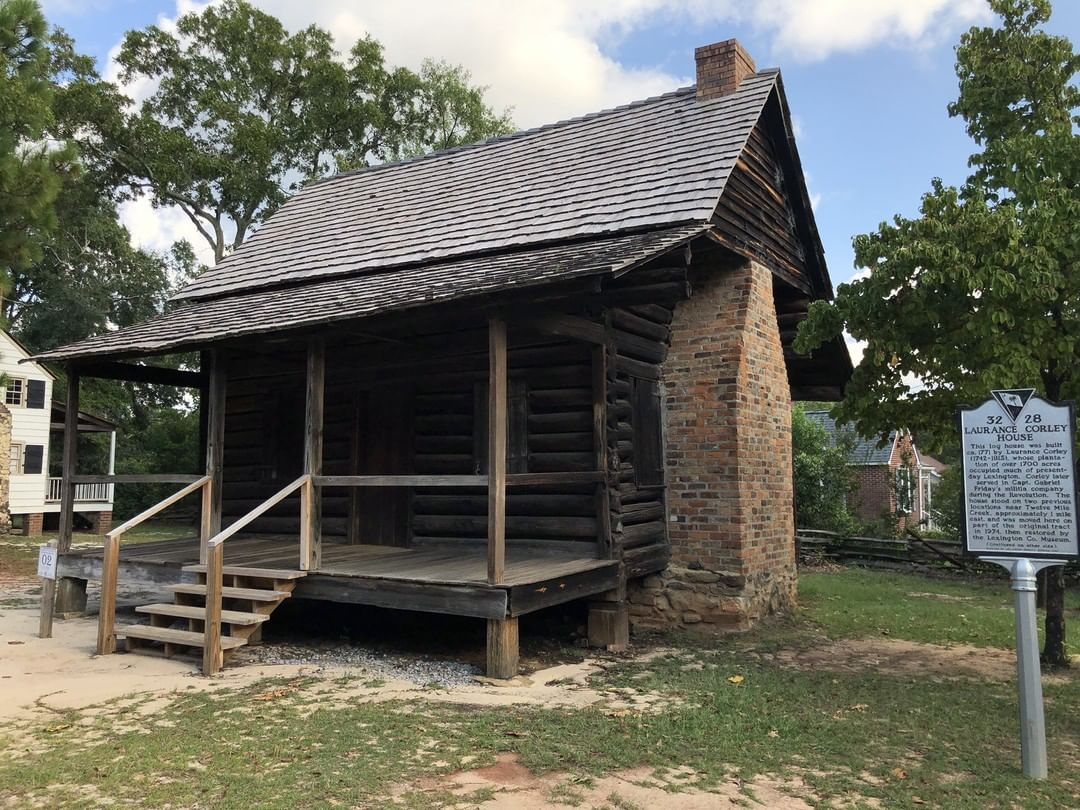 The Laurence Corley Log House was built in 1772. Laurence Corley served in the Revolutionary War and is notable for owning most of the land which the Town of Lexington now occupies