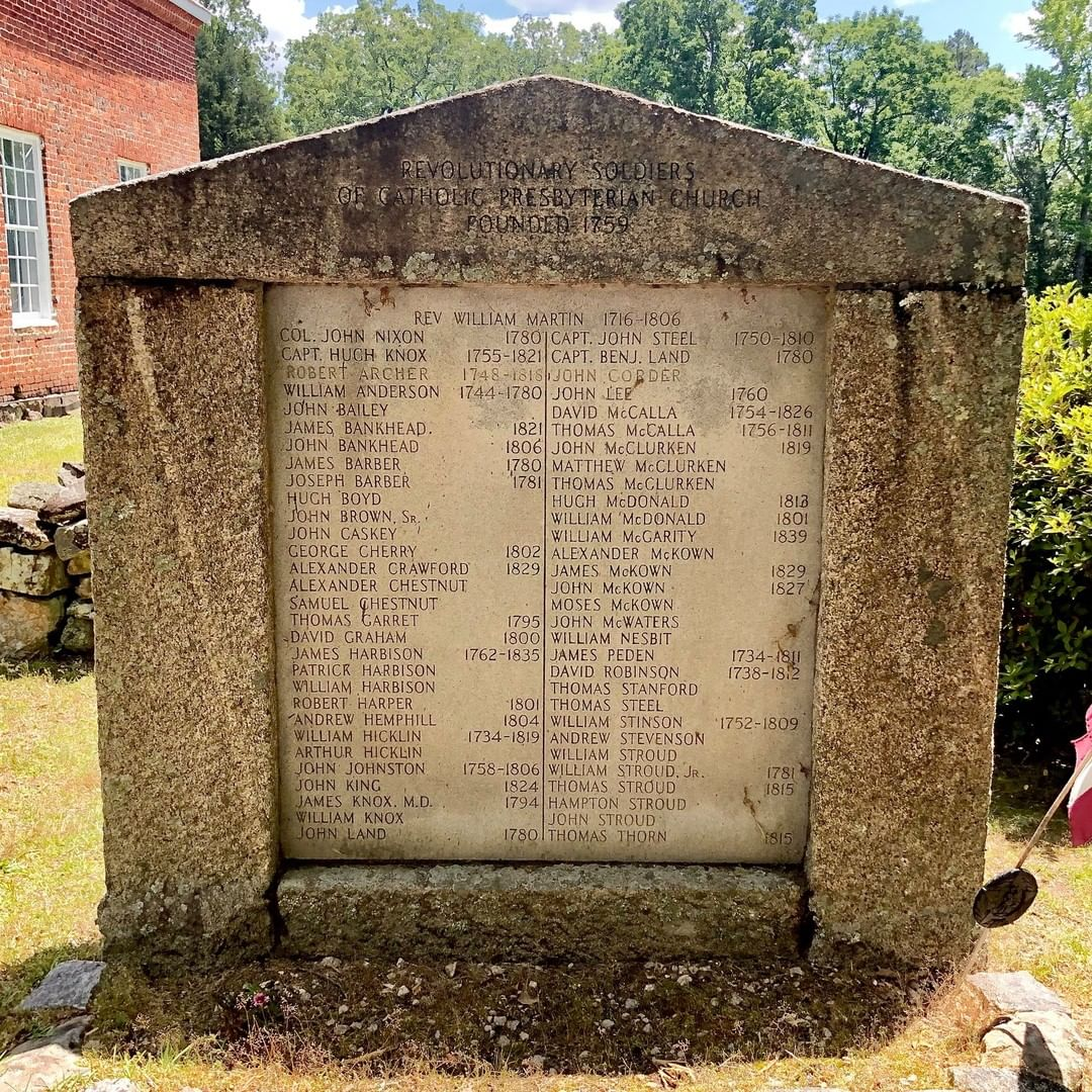 The Catholic Presbyterian Church near Chester features a granite marker commemorating the sixty-two soldiers from the church who fought in the Revolutionary War. Several of those who serviced died in the fight for independence from the British