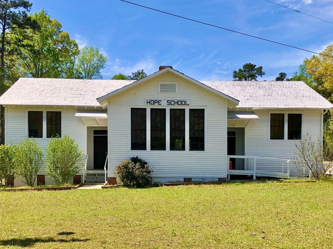 """The Hope Rosenwald School was built in ca. 1926. The school was named for James Haskell Hope, the South Carolina Superintendent of Education from 1922 to 1945, because he sold more than 2 acres of his land for the """"gift-like' price of $5 to the Trustees of School District No. 60 for Newberry County, South Carolina in 1925"""