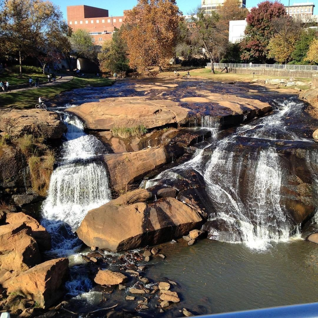 Falls Park on the Reedy River in Greenville. In 1967, the Carolina Foothills Garden Club started the idea of turning the area into a Park. It was not until the 1980's that the park developers took hold of their vision. In 2002, the Copperdown Bridge was removed, opening up the current view of the Park 📸taken 11/10/2012