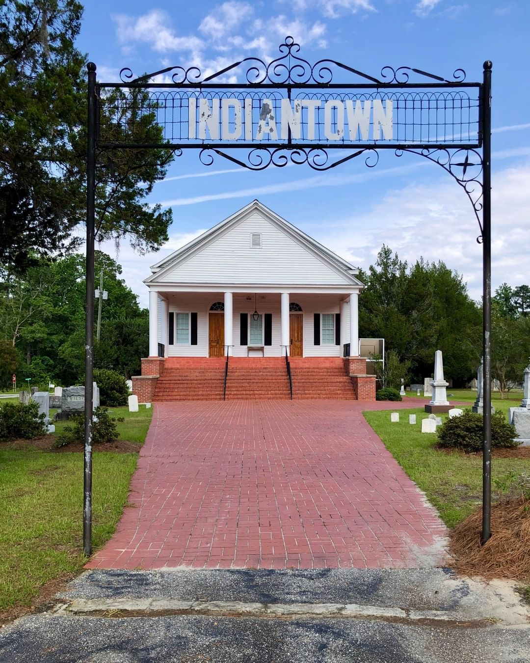 The Indiantown Presbyterian Church was established in 1757. That first church was burned in the Battle of King's Tree on August 27, 1780, Major Wemyss burned the church. This current church was built in 1830 and remodeled in 1919
